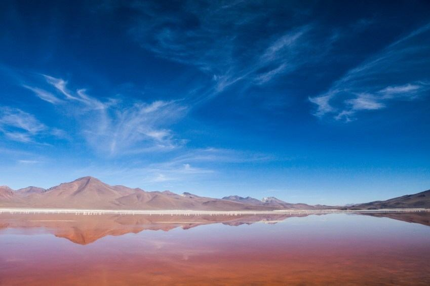 blood red water of laguna colorada