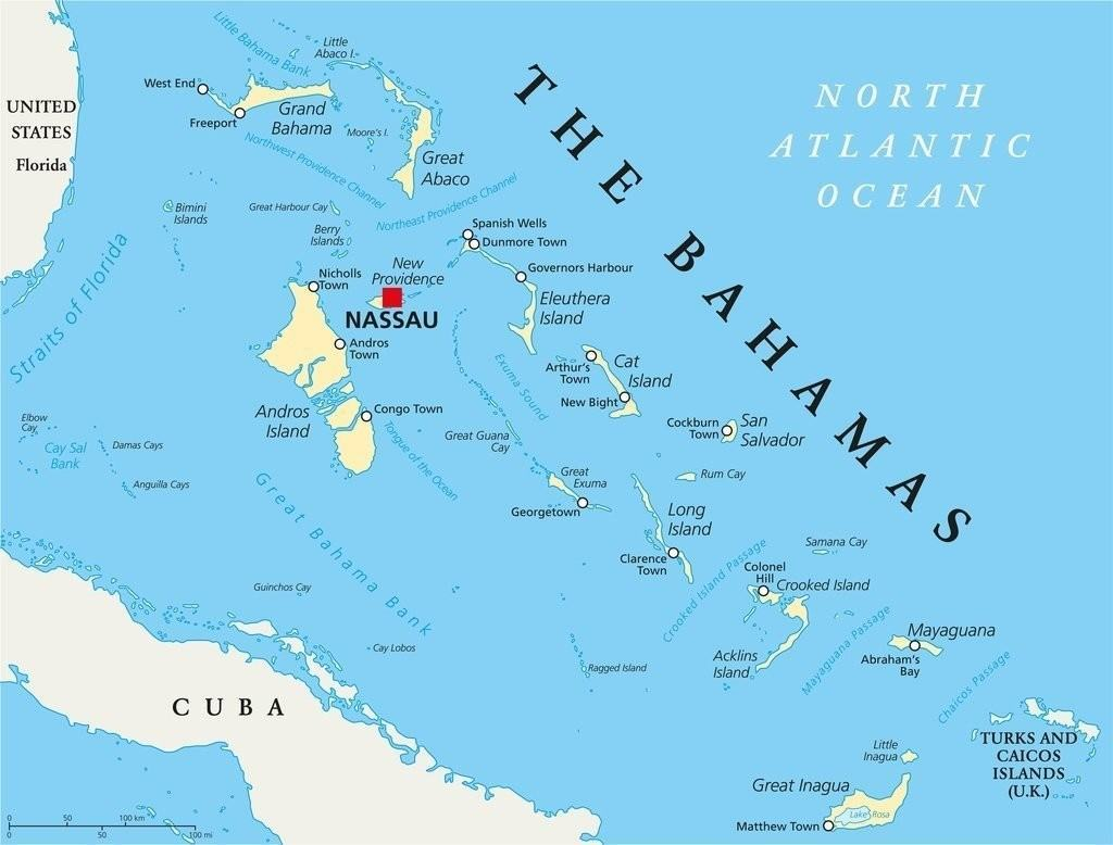 map bahamas political islands caribbean