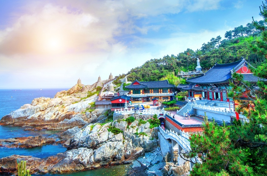 temple coast sun sea busan south korea