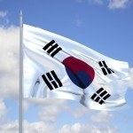 flag south korea waving wind sunny