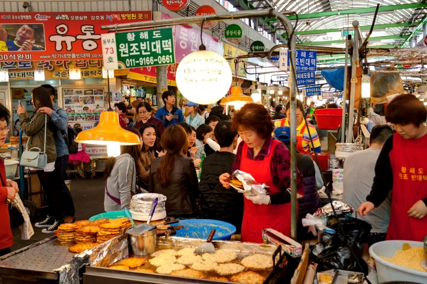 market south korea seoul woman food
