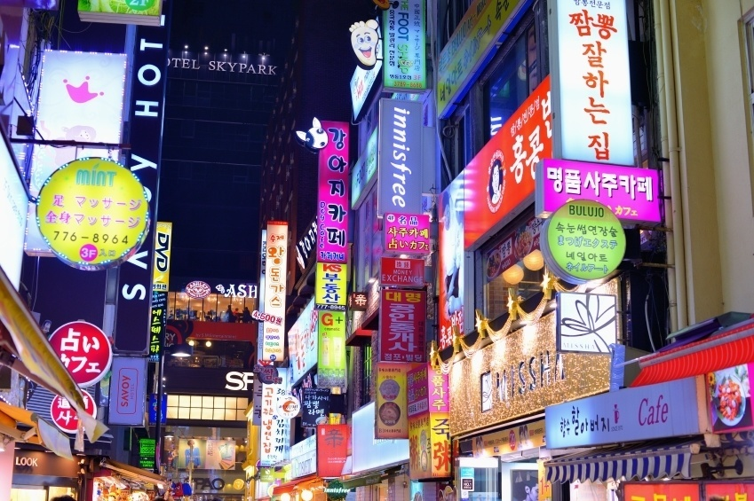 neon lights city seoul shopping crowded