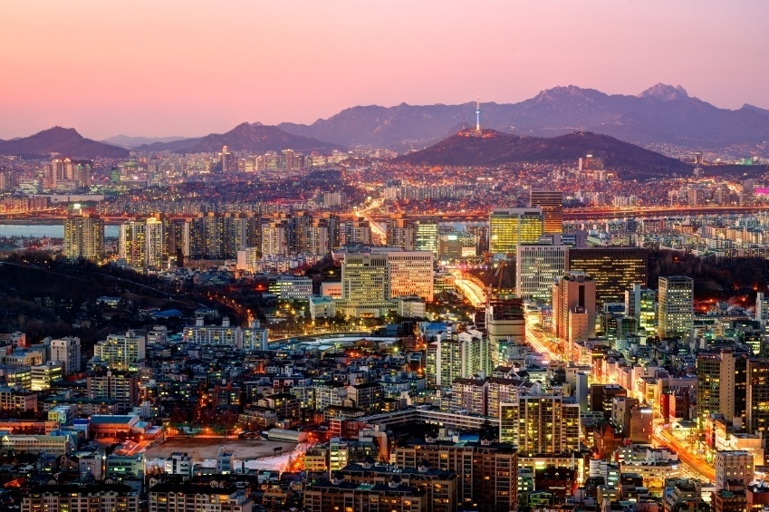 seoul south korea skyline dusk lights