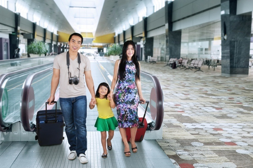 airport family travel luggage vacation