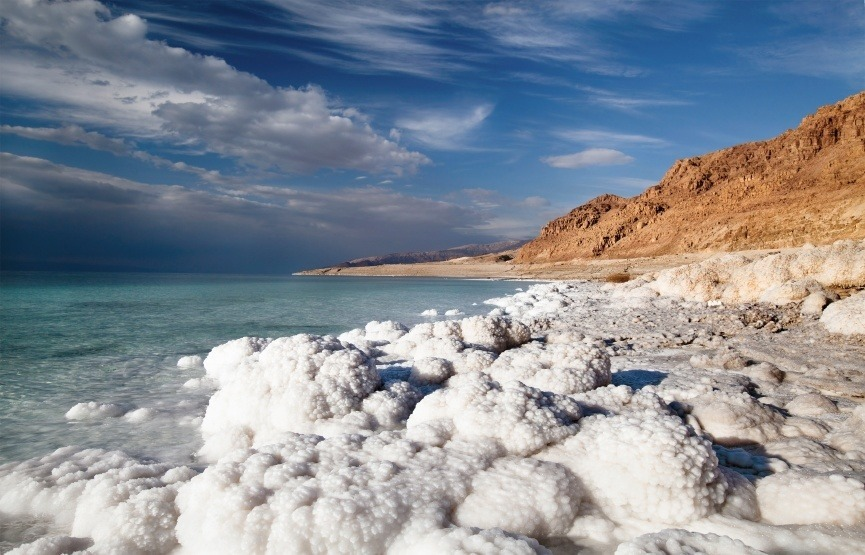 dead sea salty coast shore