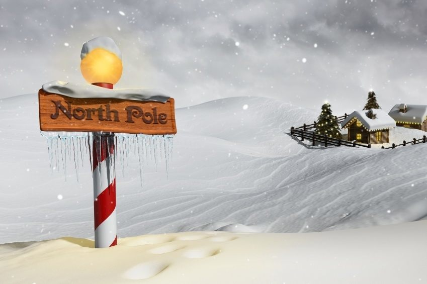 north pole santa arctic christmas hut sign