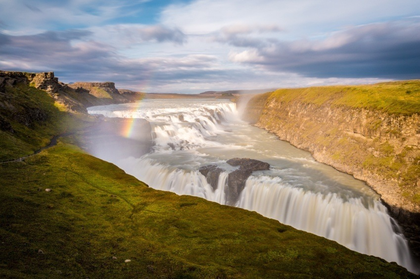gullfoss waterfall iceland golden circle rainbow day