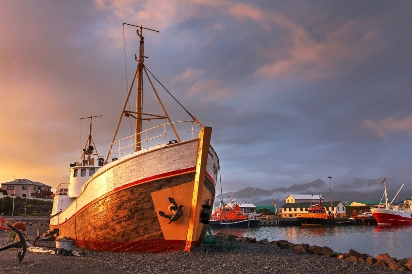 harbor boat sunset fishing iceland ship