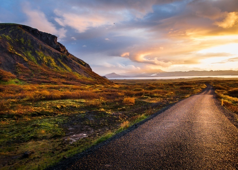 road iceland sunset mountain travel