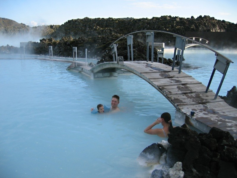spring hot geothermal swimming people iceland