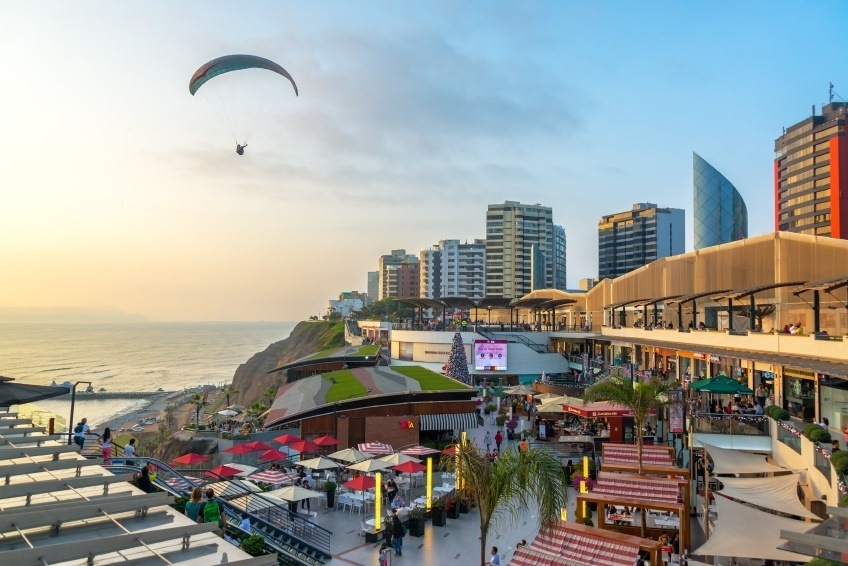 lima city paraglider peru coast buildings modern