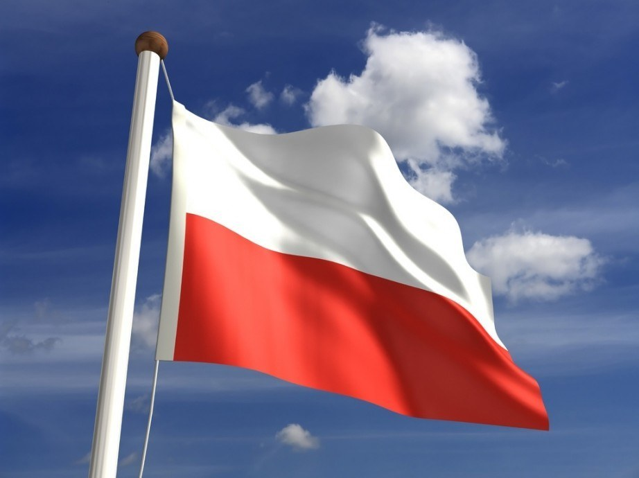 poland flag waving red white pole