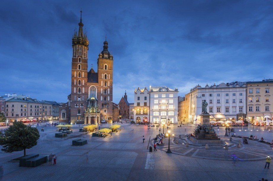 where to travel in poland krakow main square night church