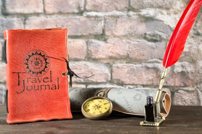 journal travel quill ink compass map
