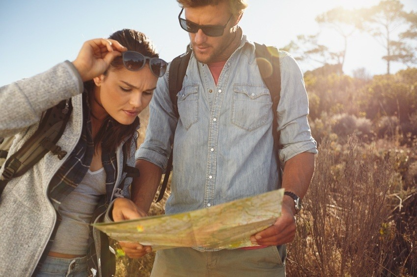 travel map couple trip hiking