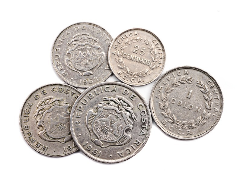 costa rican colon coins silver money