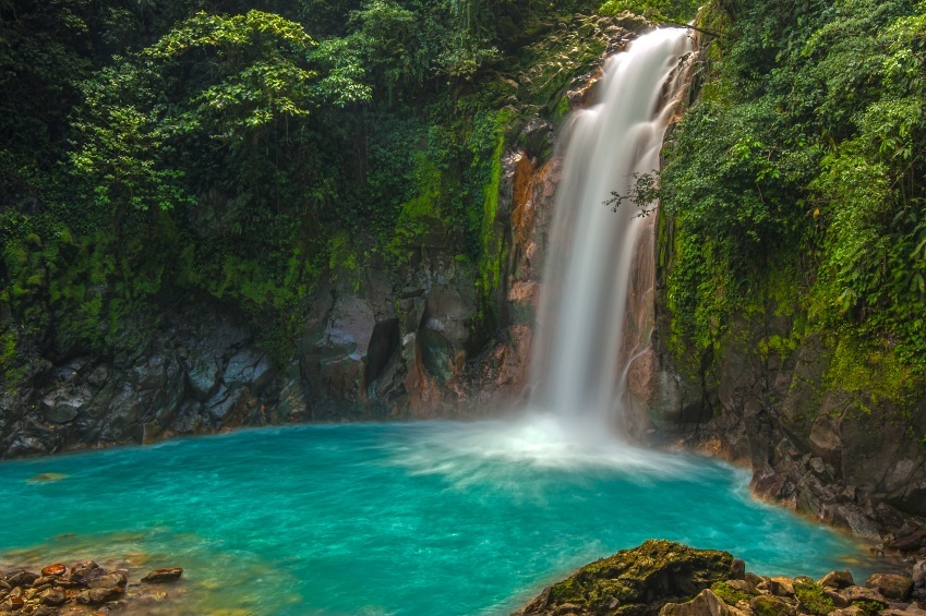 waterfall rio celeste costa rica forest