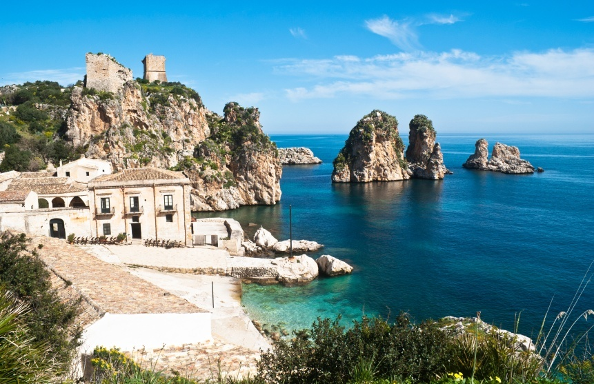 sicily italy coast rocks building