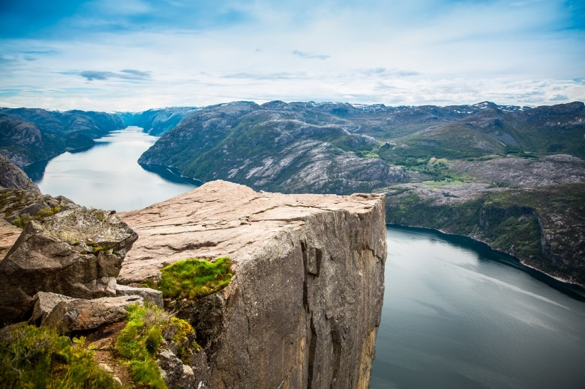 fjord norway rock lookout view mountains
