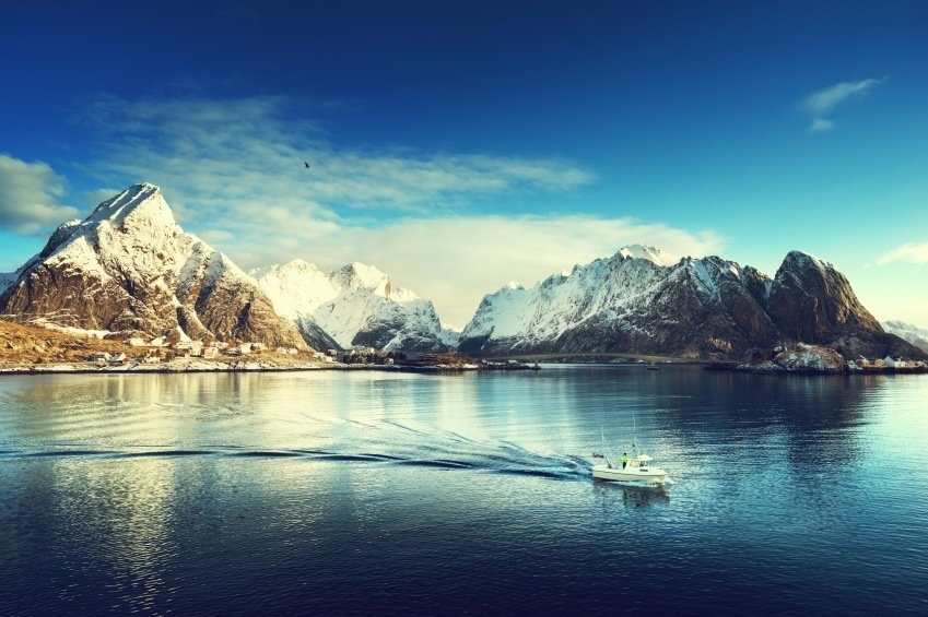 landscape fjord islands norway boat water cold