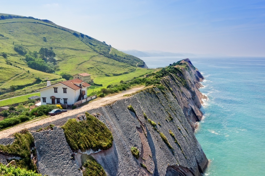 basque country coast cliff spain house