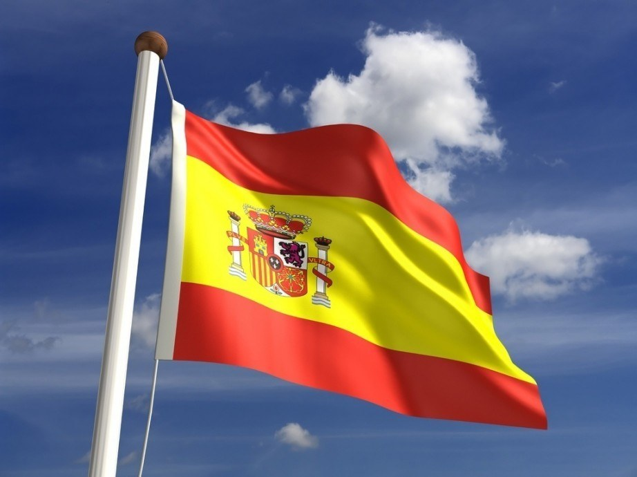 flag spain red yellow waving pole crest