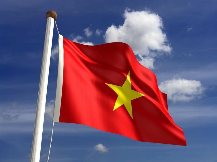 vietnam flag red yellow star waving pole