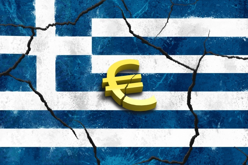 greece euro flag cracked crisis grexit