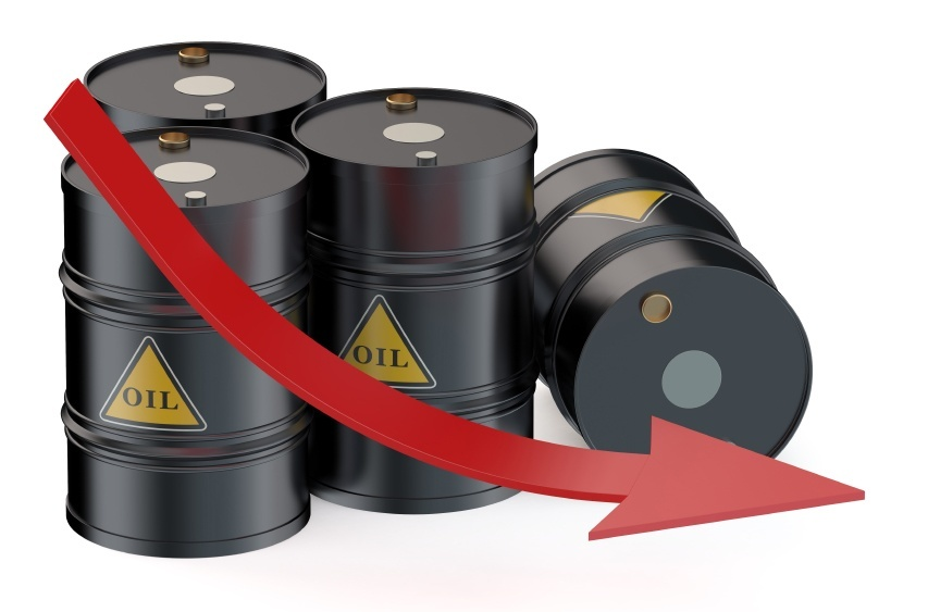 oil barrels graph falling black red arrow
