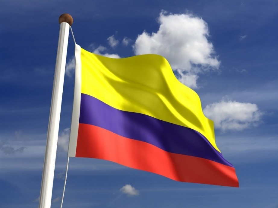 colombia flag yellow blue red waving pole