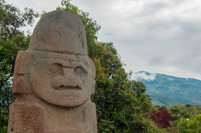 san agustin pre-columbian statue face indigenous