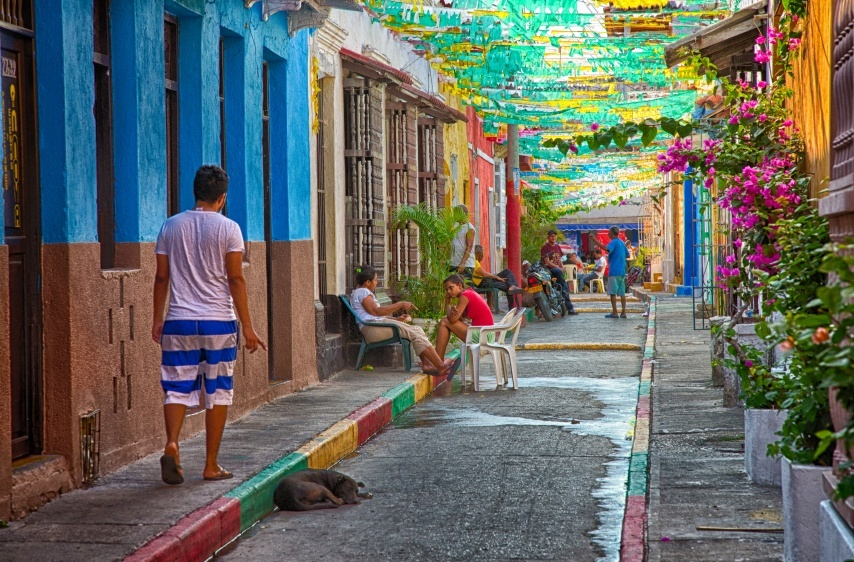street Cartagena Colombia colorful man walking