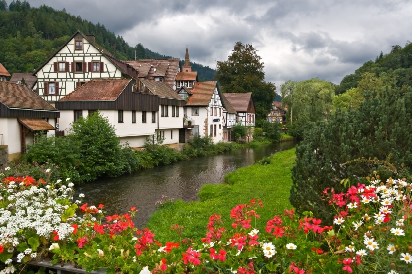 black forest germany village river