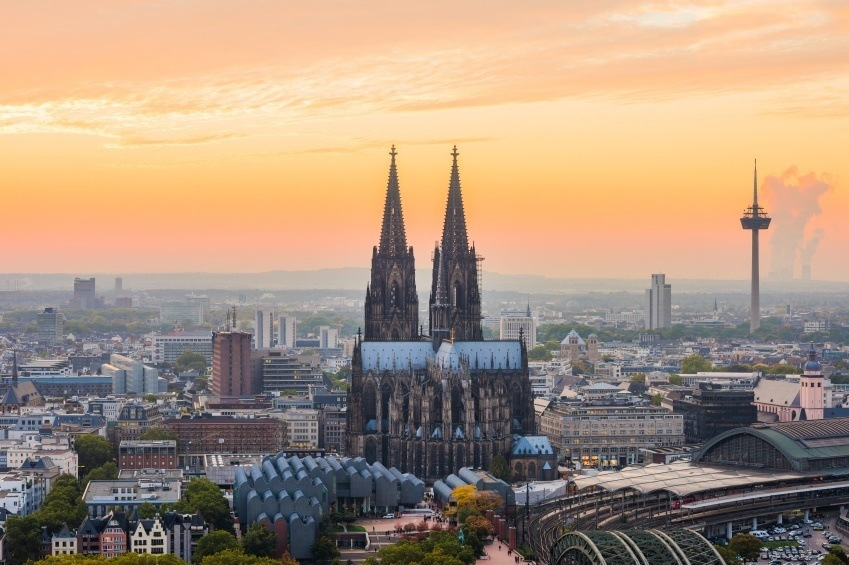 cologne sunset germany cathedral gothic tower