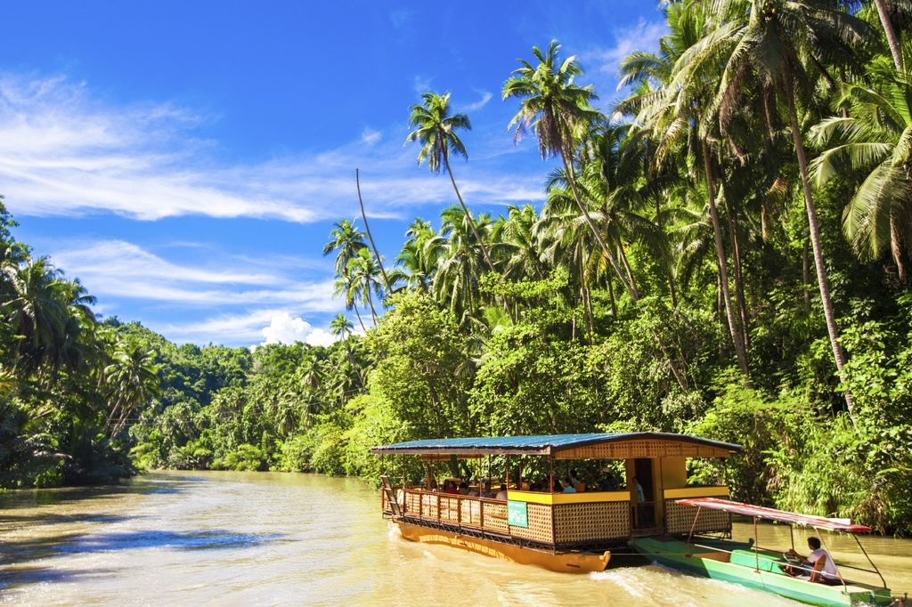 boat river philippines jungle water