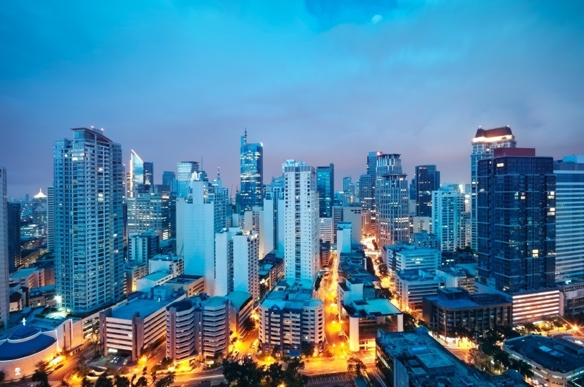 city manila philippines dusk light skyscrapers