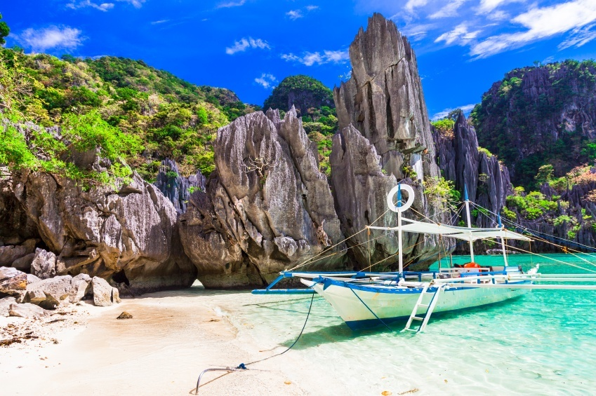 philippines island boat water beach