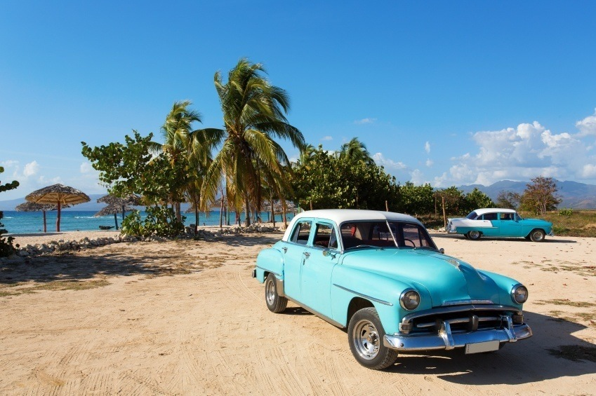 cuba car beach vintage palm trees tropical