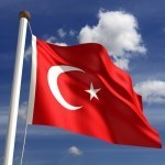 turkey flag crescent moon star red white waving pole