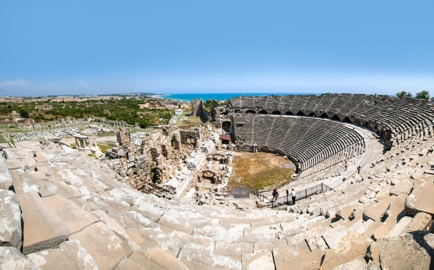 side turkey amphitheater roman ruins mediterranean city
