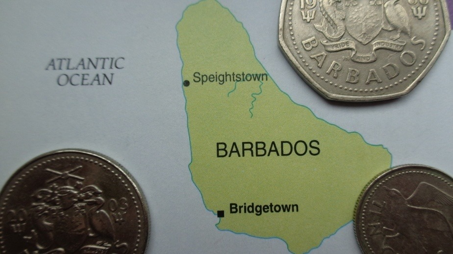 barbados map coins money