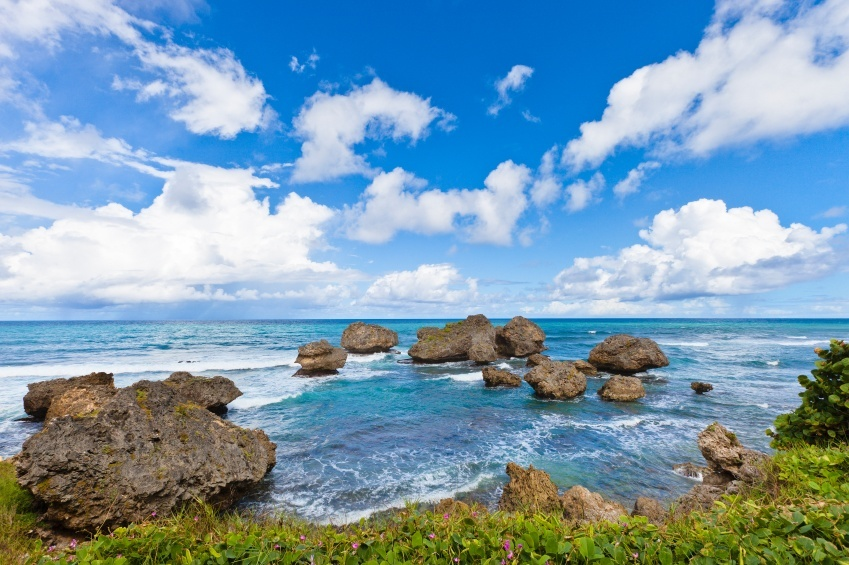 barbados bathsheba beach rocks sun atlantic ocean