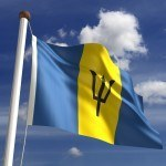 barbados flag waving trident yellow blue