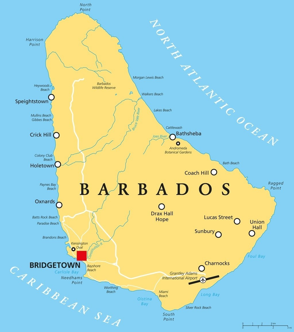 barbados map island caribbean