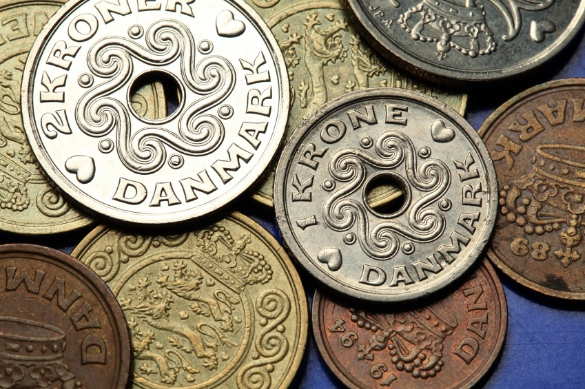 danish krone coins hole center money