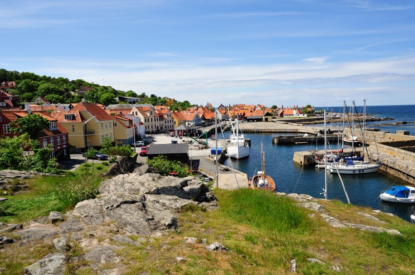 bornholm coast harbor boats town fishing island denmark