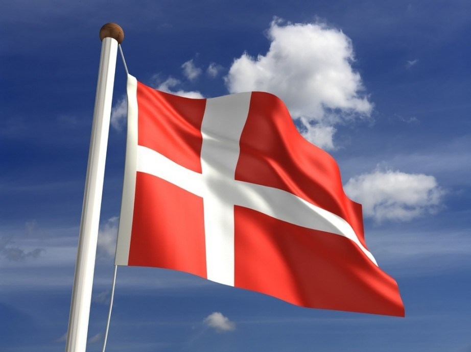 denmark flag nordic cross red white waving pole