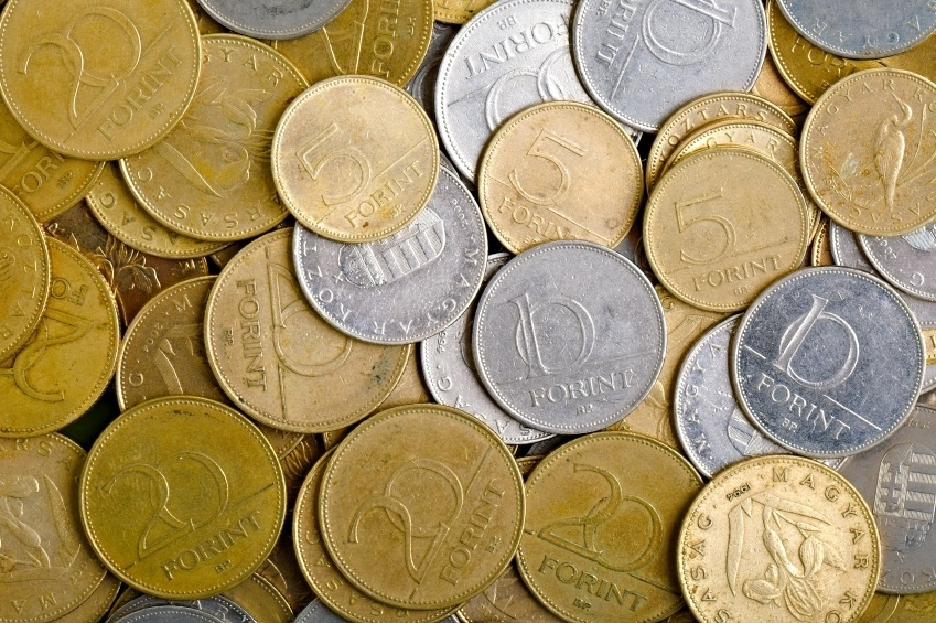 forint coins hungary pile