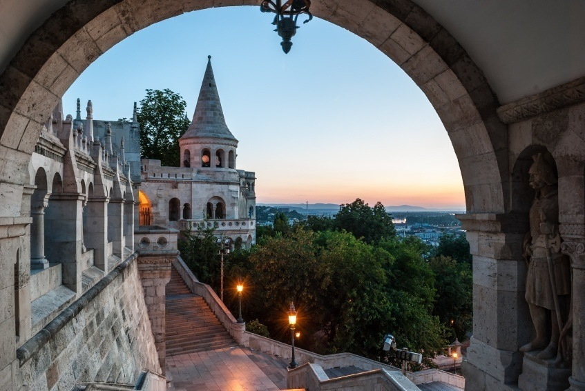 castle hungary budapest gate evening