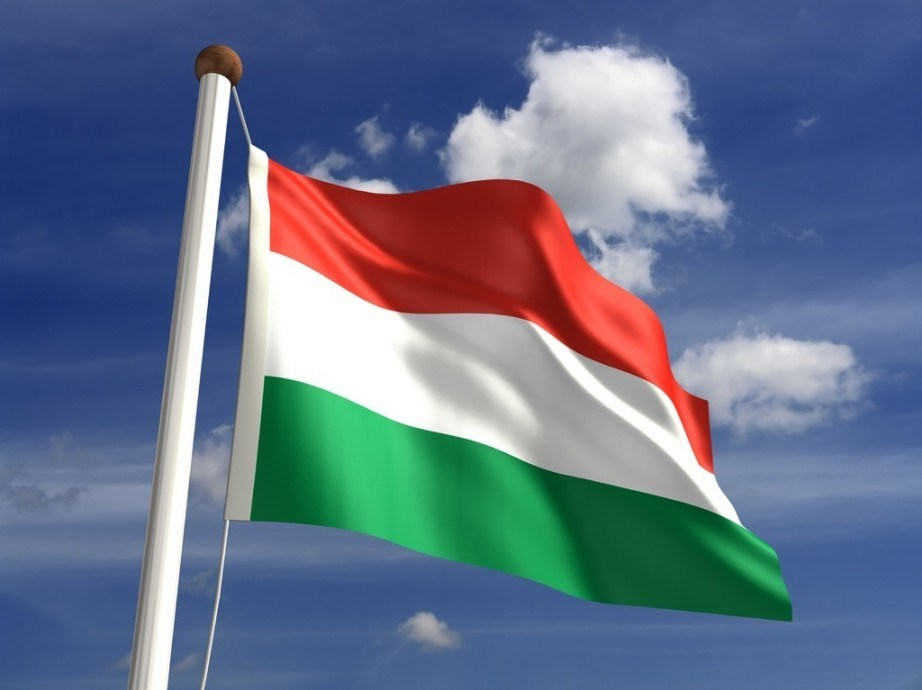 hungary flag red white green waving pole